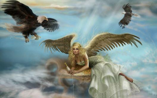Обои Девушка - ангел в облаках, в руках с веретеном с нитью, рядом с ней летают два грифа на фоне неба