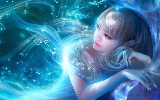 Обои Девушка в подводном волшебном мире, by Shu Mizoguchi