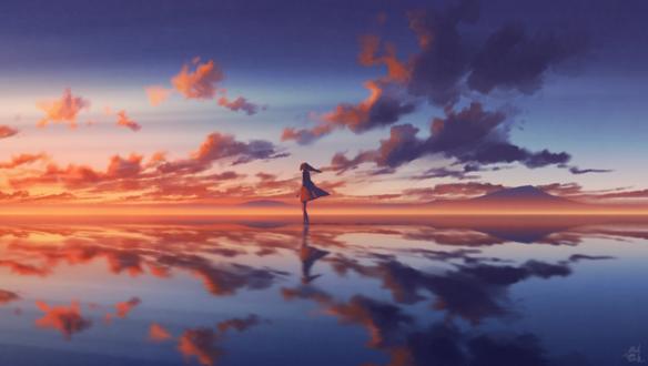 Обои Девушка стоит в воде на фоне закатного неба, by mocha