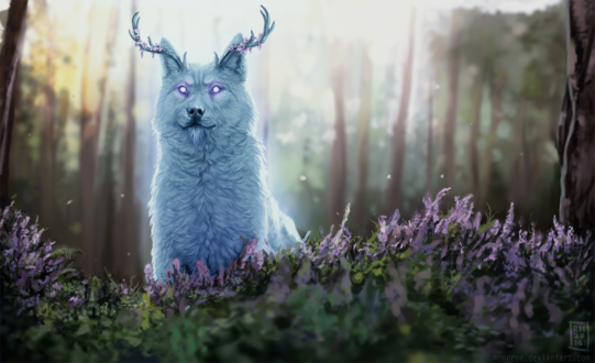 Обои Рогатый волк в лесу среди сиреневых цветов, by Monrroe