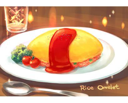 Обои На тарелке лежит омлет и овощи (Rice Omelet)