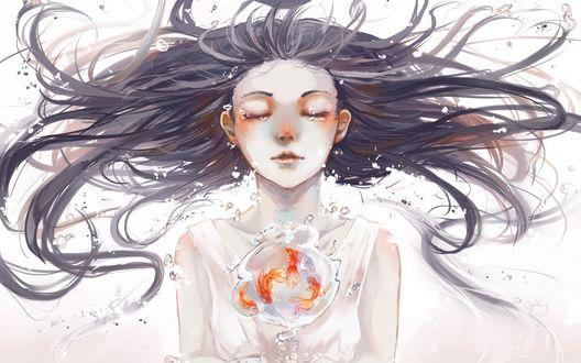 Обои Три золотые рыбки в пузыре перед длинноволосой девушкой под водой, by Yuruikarameru