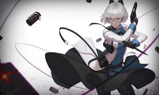 Обои Девушка с оружием в руках, автор -Q9Q-