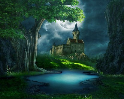 Обои Старинный замок в лесу с рекой