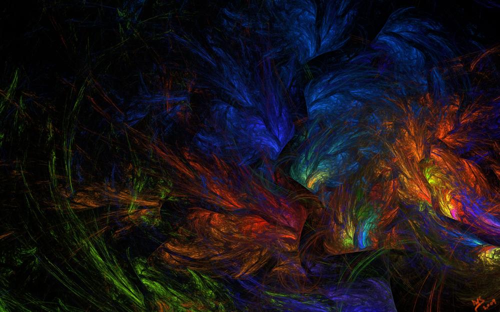 Обои для рабочего стола Мистический разноцветный лес
