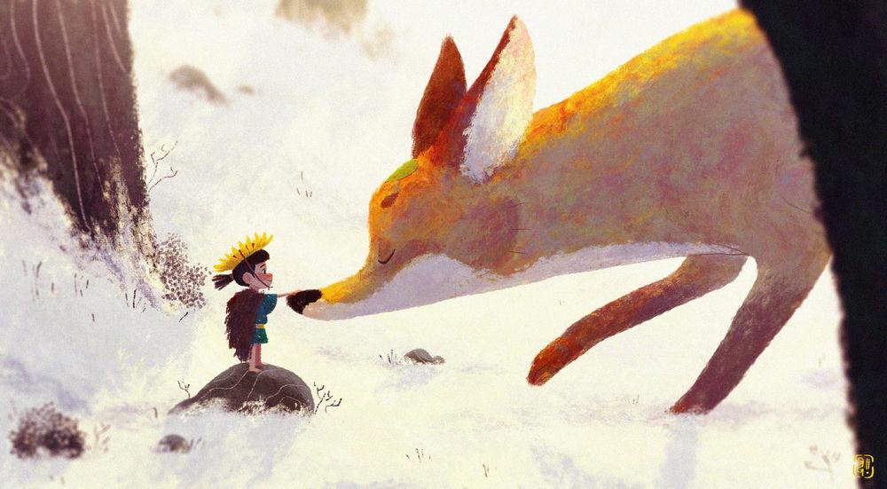 Обои для рабочего стола Ребенок дотрагивается до носика лисы, автор Gop Gap