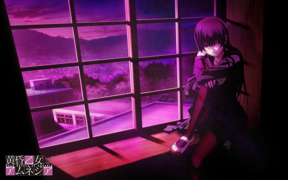 Обои для рабочего стола Юко Каноэ / Kanoe Yuuko сидит ночью на подоконнике в школе из аниме Сумеречная дева и Амнезия / Tasogare Otome x Amnesia