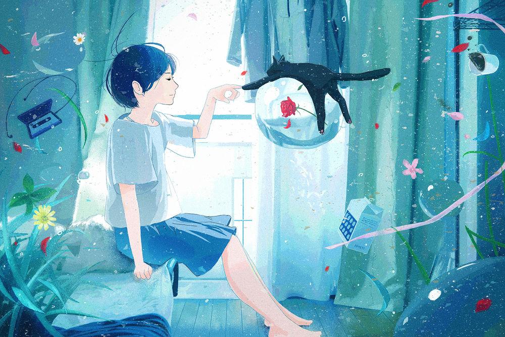 Обои для рабочего стола Девушка касается пальцем лапы черной кошки, которая лежит на пузыре, внутри которого красная роза, by 中村至宏