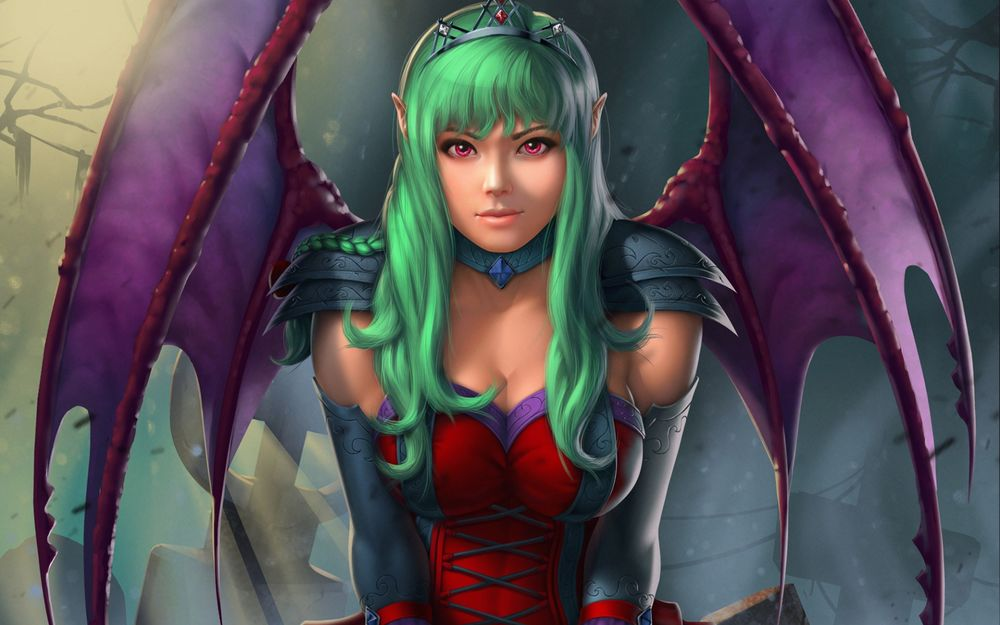 Обои для рабочего стола Девушка-вампир с зелеными волосами на кладбище