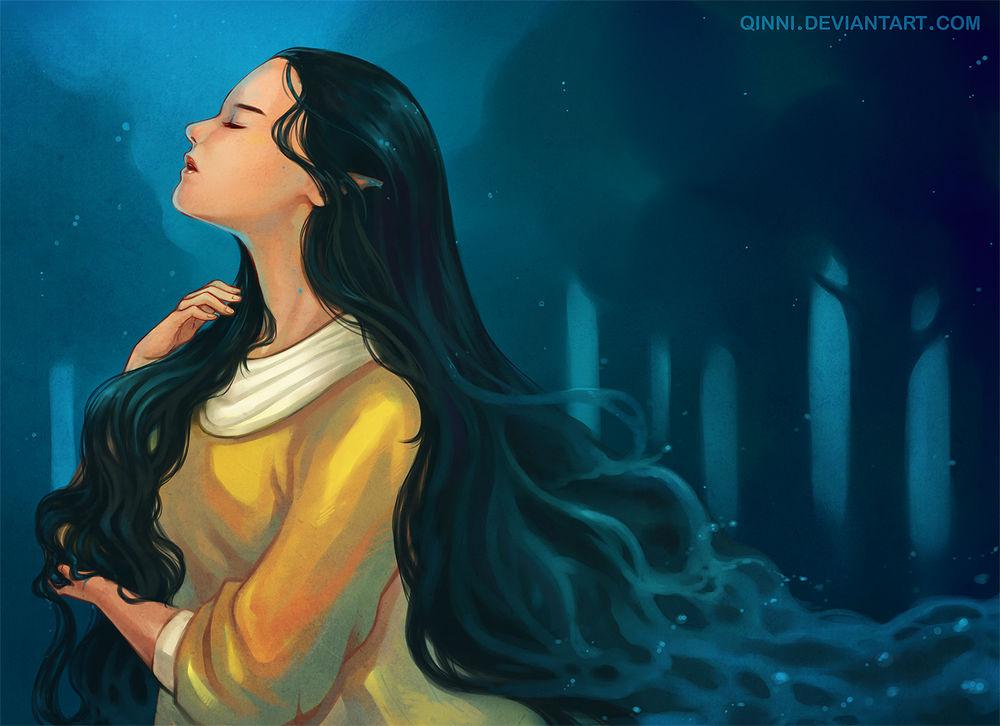 Обои для рабочего стола Эльфийка с длинными волосами в темном лесу, by Qinni