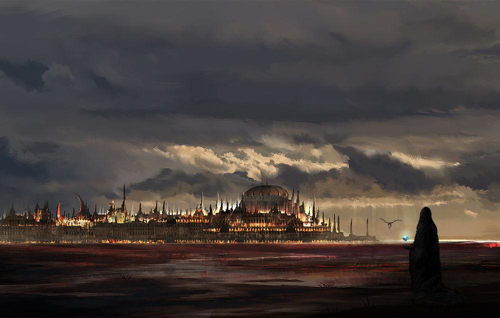 Обои для рабочего стола Человек в черном плаще смотрит на таинственный светящийся вдалеке замок
