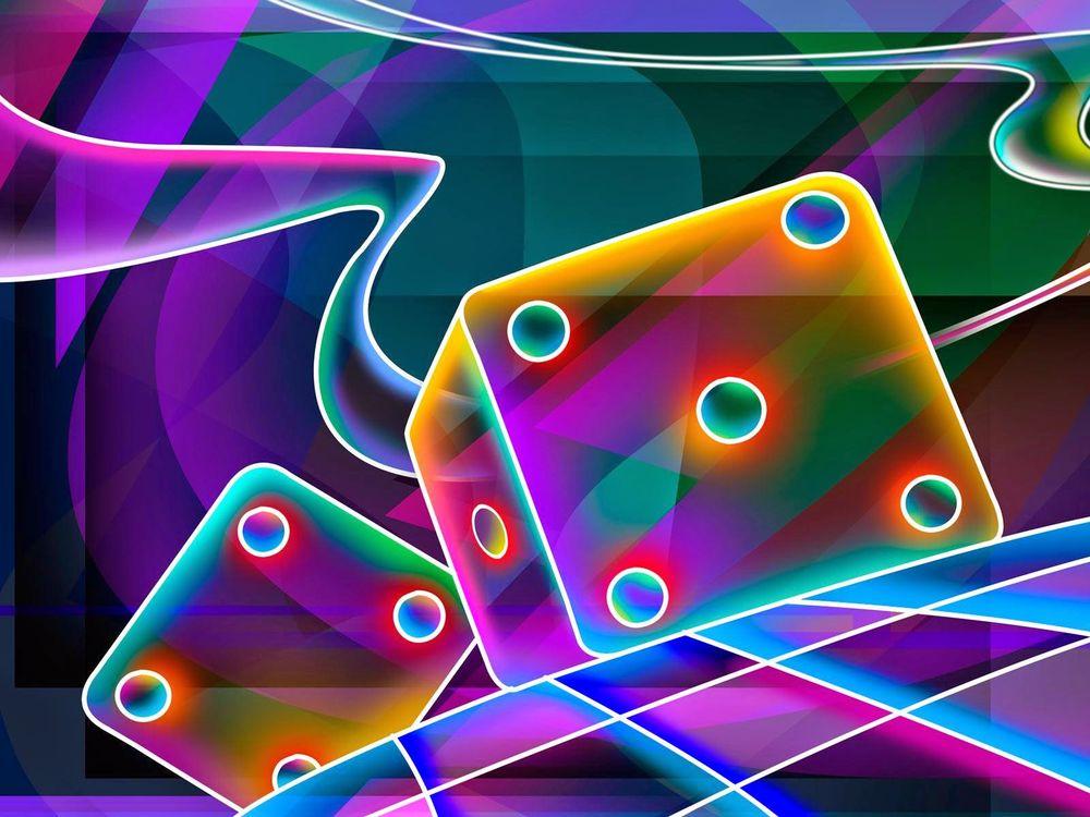 Обои для рабочего стола Разноцветные игральные кубики в абстракции