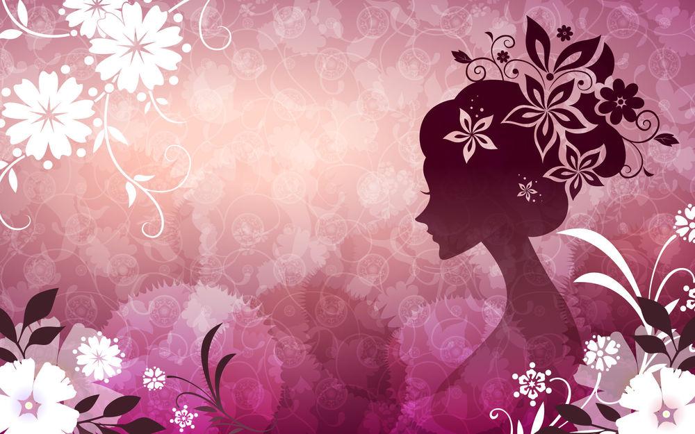 Обои для рабочего стола Абстракция девушки с цветами