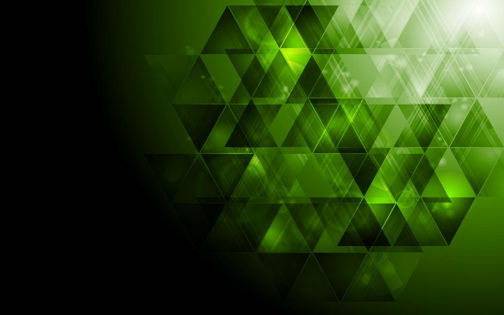 Обои для рабочего стола Абстракция из зеленых треугольников