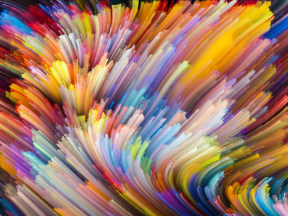 Обои для рабочего стола Абстракция из разноцветных красок