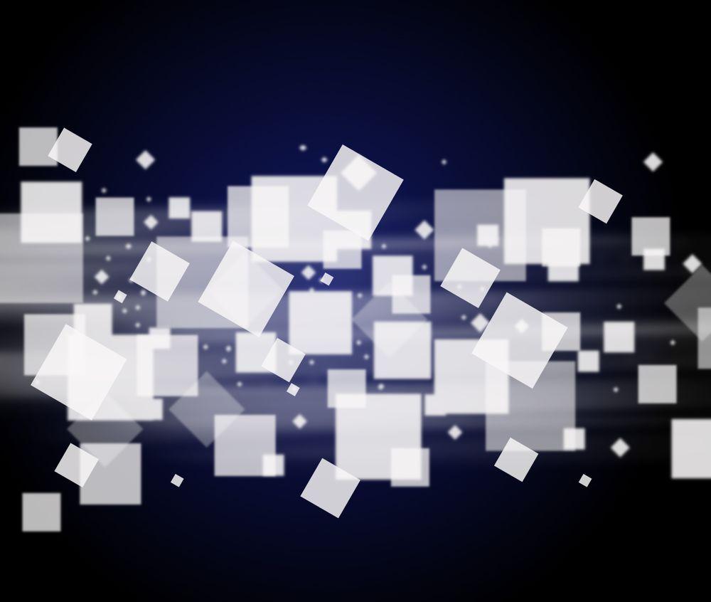 Обои для рабочего стола Белые квадраты на черно-синем фоне