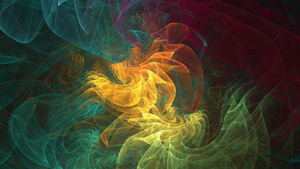 Обои для рабочего стола Разноцветный фрактальный дым