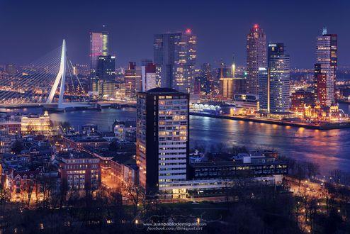 Обои Большой ночной Rotterdam / Роттердам, фотограф Juan Pablo de Miguel
