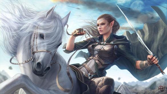 Обои Девушка-воин на белой лошади с мечом в руке