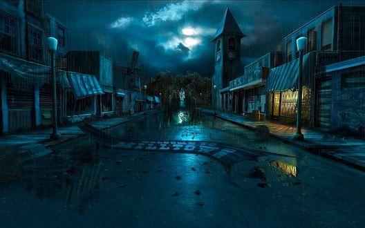 Обои Ночная улица под дождем, кадр из фильма Назад в будущее / Back to the Future