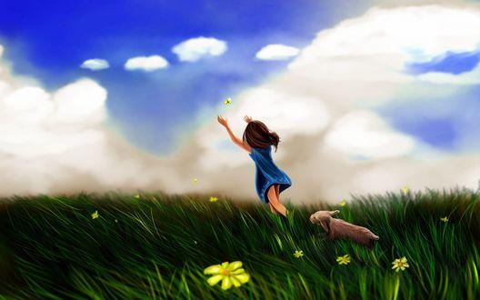 Обои Девочка с собачкой бежит по цветущему лугу и ловит желтую бабочку
