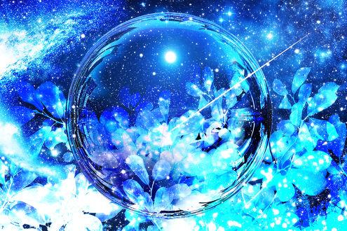 Обои Стеклянный шар и ветки с листьями на фоне космоса, by ゾノ丸