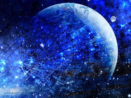 Обои Колесо обозрения в космосе сине - голубых оттенках, by ゾノ丸