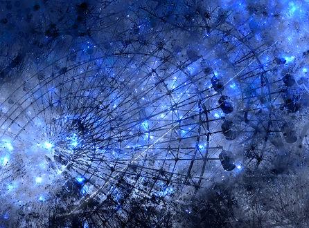Обои Колесо обозрения в космосе со светящимися звездами, by ゾノ丸