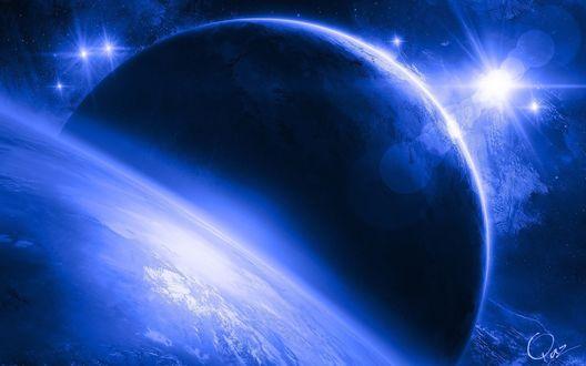 Обои Планеты в космосе в синих оттенках