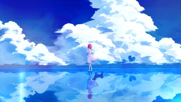 Обои Девушка стоит на воде и смотрит в даль, автор Junjam