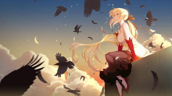 Обои Синобу Осино / Shinobu Oshino из аниме Истории монстров / Bakemonogatari, автор Wukloo