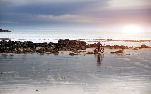 Обои Велосипедист катается по затопленному пляжу вдоль берега