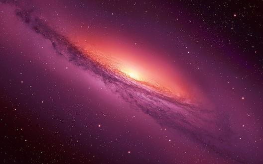 Обои Пурпурно-красная галактика в космосе