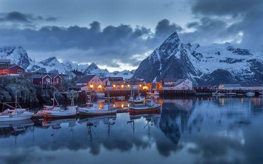 Обои Вечерний Москенес / Moskenes, Норвегия