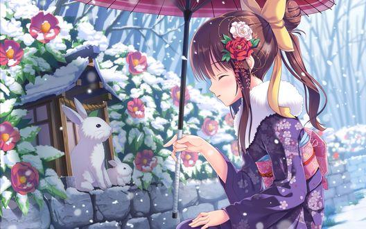 Обои Девушка в кимоно с зонтом в руке сидит возле домика зайчиков под падающим снегом
