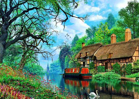 Обои Дом под камышовой крышей на берегу канала. Художник Доминик Дэвисон (Dominic Davison)