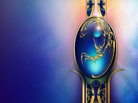 Обои Изящное украшение на розово-сине-ультрамариновом фоне. Художник Nathan Smith. Коллекция Ювелирные фракталы