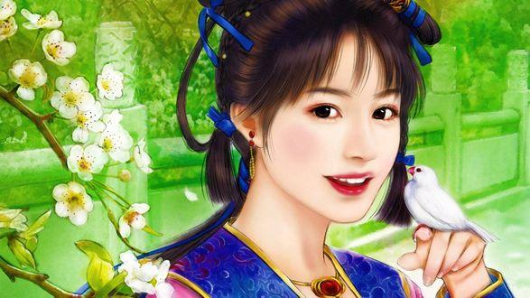 Обои Улыбающаяся девушка, с лентами на волосах, держит на руке белую птицу, на фоне природы и цветущей вишни
