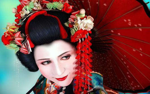 Обои Японская девушка с красным зонтиком и с украшениями на волосах