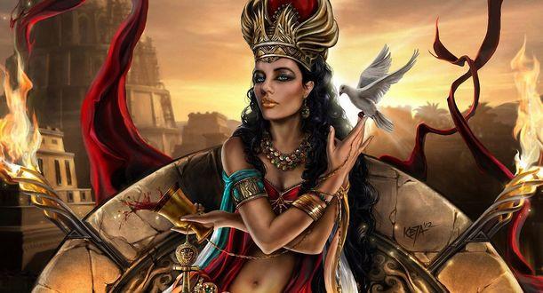 Обои Семирамида - в аккадской и древнеармянской мифологиях легендарная царица Ассирии, супруга легендарного царя Нина, убившая его хитростью и завладевшая властью