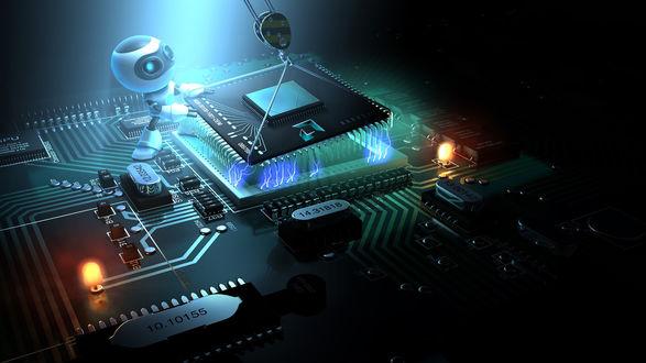 Обои Маленький робот производит сборку микросхемы с подсветкой