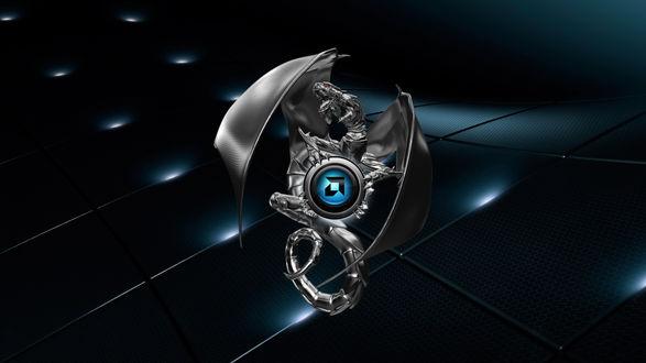 Обои Логотип компании амд / amd в виде дракона на темном фоне