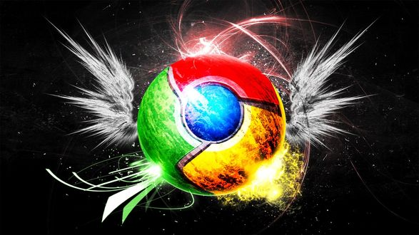 Обои На черном фоне логотип браузера гугл хром с крылышками