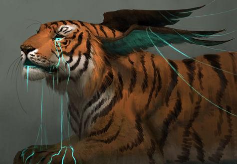 Обои Фантастический тигр с крыльями на морде, из глаз которого течет голубая жидкость, by JadeMere