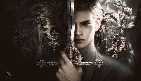 Обои Парень держит в руке меч, by Valentina-Remenar