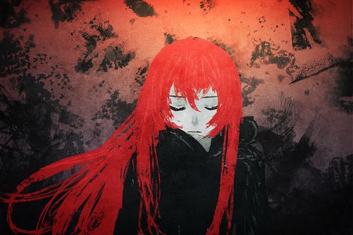 Обои Девушка с ярко красными волосами закрыла глаза, by slyvanie