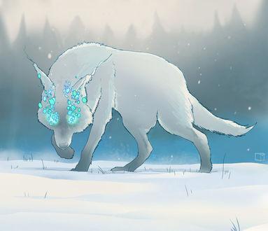 Обои Фантастический волк стоит на снегу, by PHAZED
