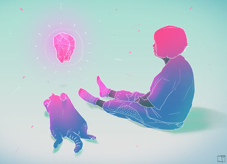 Обои Девушка и кошка смотрят на светящийся камень, by PHAZED