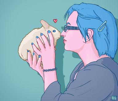Обои Девушка держит в руках кролика, by PHAZED