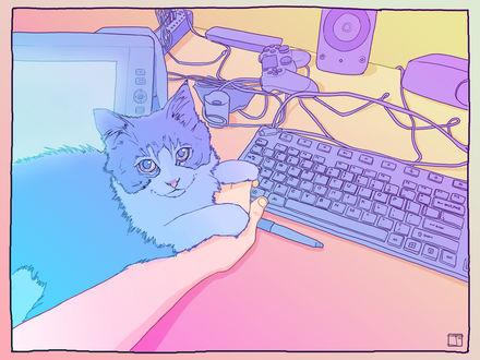 Обои Кот держит лапками руку, лежа на столе, by PHAZED